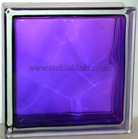 Стеклоблок Vitrablok окрашенный внутри волна аметист 110х110х80