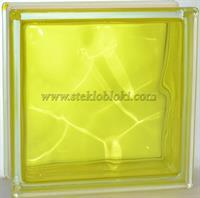 Стеклоблок Vitrablok окрашенный внутри волна желтый